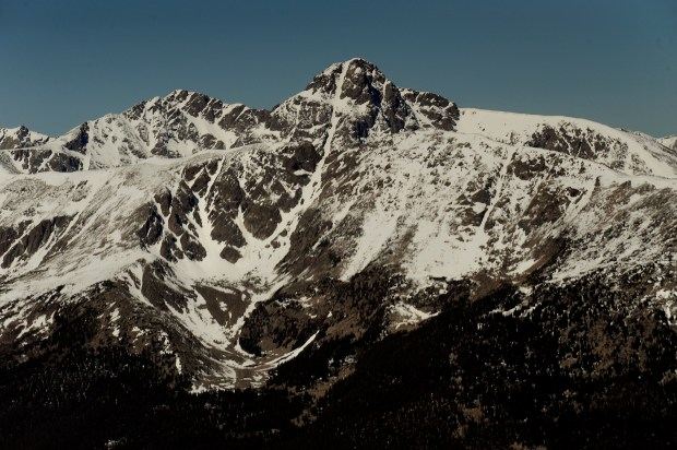 Mount of the Holy Cross in the Holy Cross Wilderness area of the Sawatch Range during a fly-over of the proposed Hidden Gems Wilderness Areas in Eagle and Summit County.