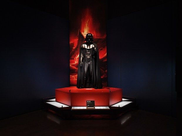 Darth Vader's leather suit with helmet and armor, form 2005, is displayed at the Star Wars and The Power of Costume exhibit at The Denver Art Museum, November 10, 2016. The upcoming exhibit will open November 13 and run through April 2.