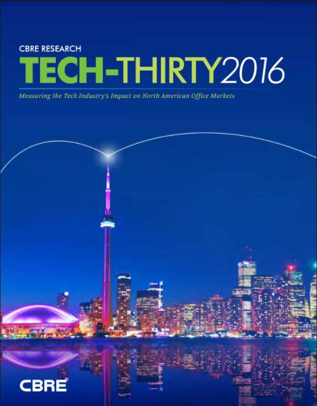Tech-Thirty 2016 from CBRE is meant to give real estate investors insight into cities with a growing market and rising rents. But for tech companies, it can also tell you hot cities that don't cost as much to operate.