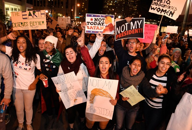 Thousands of people turned out to march against President-elect Donald Trump in Denver, Colorado on November 10, 2016 in Denver, Colorado. The protesters began at the State Capitol, marched down the 16th Mall, to 17th ave, then to Champa Street and Speer blvd and made their way back to the State Capitol up Colfax ave. More and more people joined the march as it wound through the streets of downtown Denver protesting the newly-elected president Donald Trump. Helen H. Richardson, The Denver Post