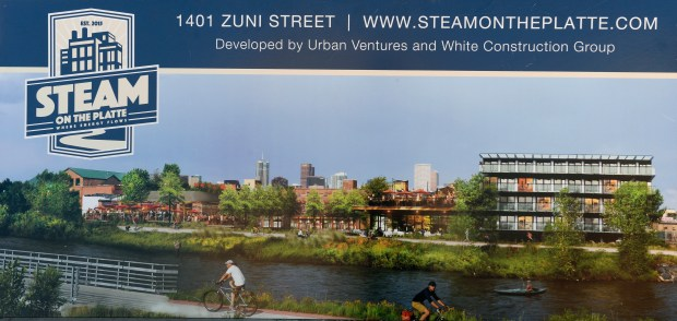 DENVER, CO - NOVEMBER 14: An artist rendering shows the developers vision. Construction continues on the STEAM on the Platte development at 1401 Zuni Street near Sports Authority at Mile High Stadium where several of the buildings will be saved on the site for future office space and a new restaurant. (Photo by Kathryn Scott/The Denver Post )