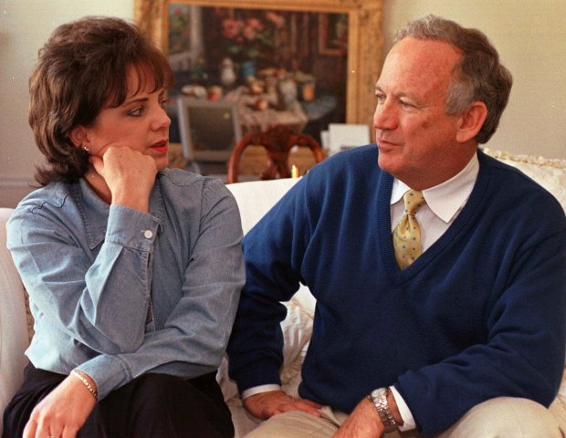 John and Patsy Ramsey answer a reporter's question during an interview in their Atlanta home on Monday, April 10, 2000.