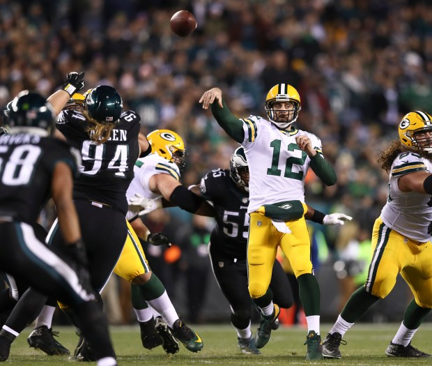 Aaron Rodgers #12 of the Green Bay Packers throws a touchdown pass to Davante Adams #17 (NOT PICTURED) in the second quarter against the Philadelphia Eagles at Lincoln Financial Field on November 28, 2016 in Philadelphia, Pennsylvania.