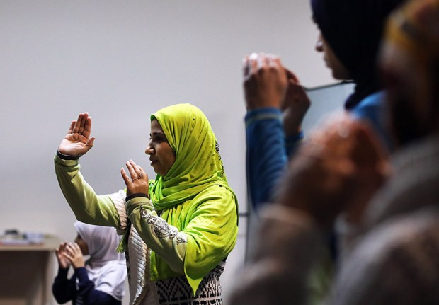 Muslim women participate in a self-defense class in New York City on Dec. 16. According to new FBI statistics, hate crimes against Muslims in the United States are at the highest levels since the aftermath of the Sept. 11 attacks.
