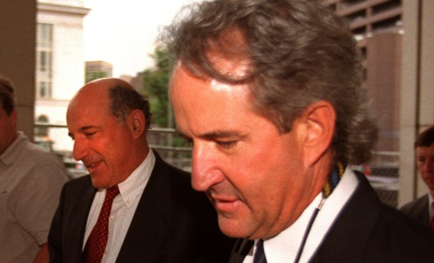 Tom Koby (right), former Boulder Police Chief, returns to the U.S. District Courthouse on May 29, 2001.