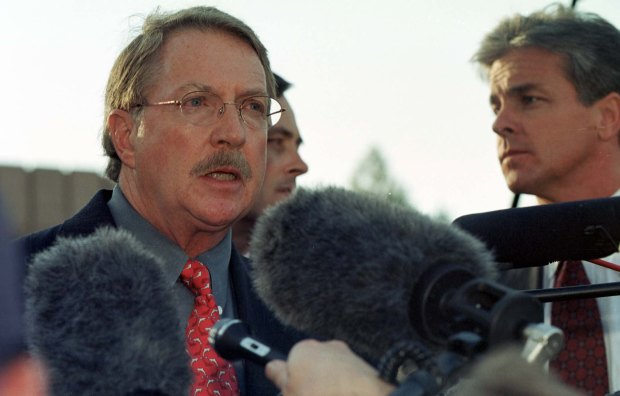 Boulder County District Attorney Alex Hunter announces the end of the grand jury hearing of the JonBenet Ramsey murder investigation on October 13, 1999. Hunter said they did not find enough evidence to make an arrest.