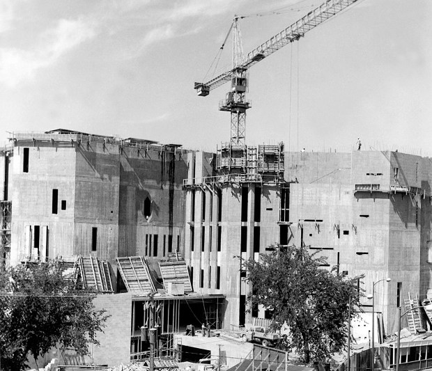 The iconic Gio Ponti structure, now known as the North Building of the Denver Art Museum, under construction.