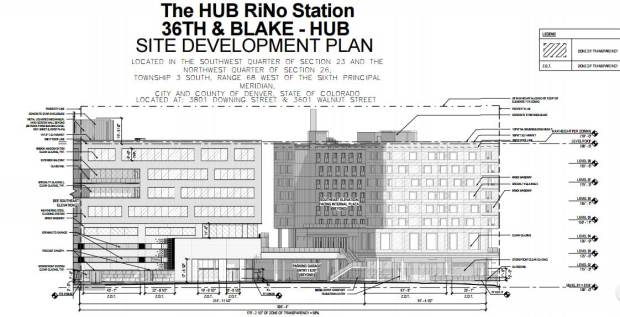 Site plans submitted to the city of Denver for The HUB RiNo Station Development, a mixed use project that includes a hotel, retail and 250,000 square feet of office space.