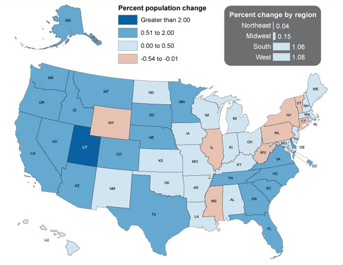 Map Of Us Population By State - Us population map