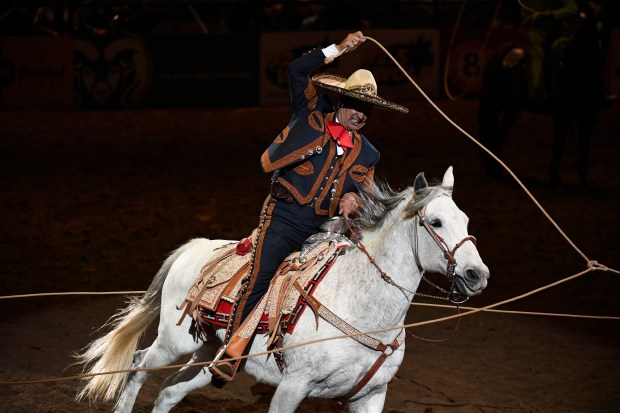 Jerry Diaz performs with a long lasso during the 23rd annual Mexican Rodeo Extravaganza during the 111th annual National Western Stock Show on January 8, 2017 in Denver, Colorado. Helen H. Richardson, The Denver Post