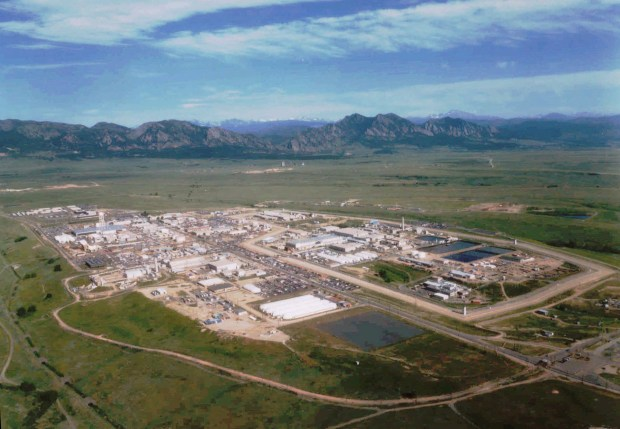 This is a 1991 aerial view of the Rocky Flats nuclear weapons facility, 16 miles northwest of Denver.