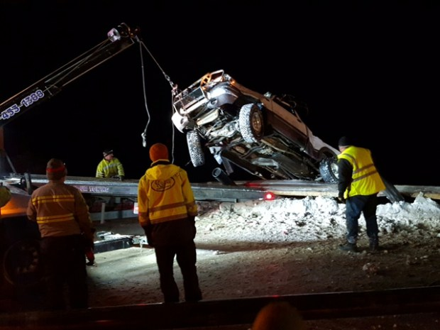The semi overturned about 4 miles east of Silverthorne on Jan. 3, 2017.