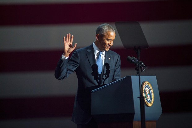 President Obama gives his farewell speech on Jan. 10 in Chicago.