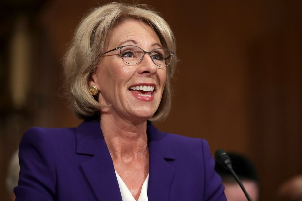 Betsy DeVos, President Donald Trump's nominee for secretary of education, testifies during her confirmation hearing before the Senate Health, Education, Labor and Pensions Committee on Jan. 17 in Washington.