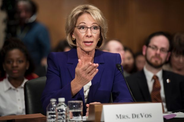Betsy DeVos speaks during her confirmation hearing for secretary of Education before the Senate Health, Education, Labor, and Pensions Committee on Jan. 17 in Washington.