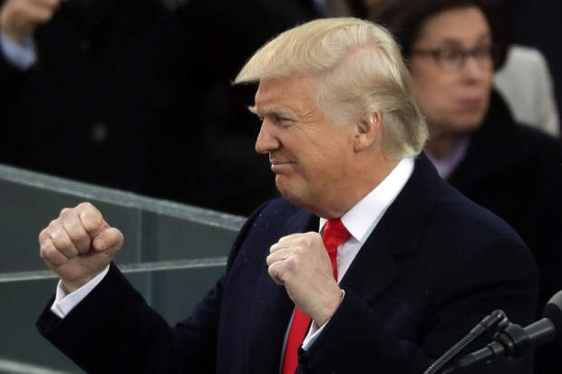 President Donald Trump poses like a boxer during his inaugural address in front of the U.S. Capitol on Jan. 20.