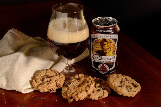 Avery Reverend with an Oatmeal Raisin cookie in a beer and cookie pairing in Denver, January 24, 2017.