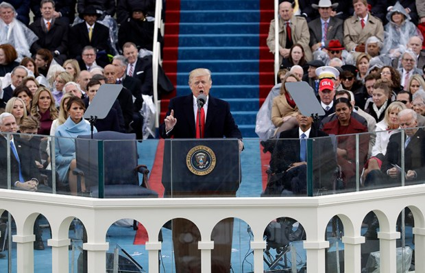 President Donald Trump delivers his inaugural address after being sworn in as the 45th president of the United States Friday in Washington.