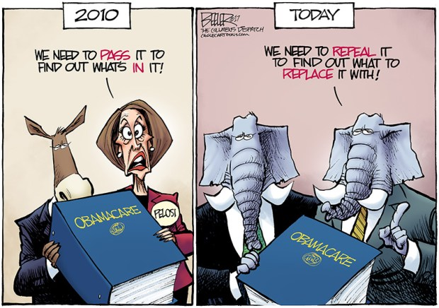 Image result for cartoons trump on obamacare failure