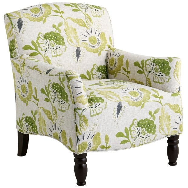 Pier 1's Frankie Cream & Green Armchair has an overscale floral pattern. ($450, pier1.com).