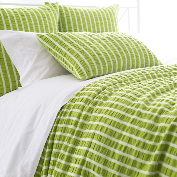 The Parker Green Duvet's preppy white stripes are a fun touch ($194-$262, pineconehill.com).