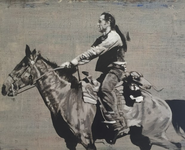 """Gordon McConnell """"And It's Ride Willie Ride,"""" an acrylic painting on board, is part of """"New Frontier"""" in Greenwood Village."""