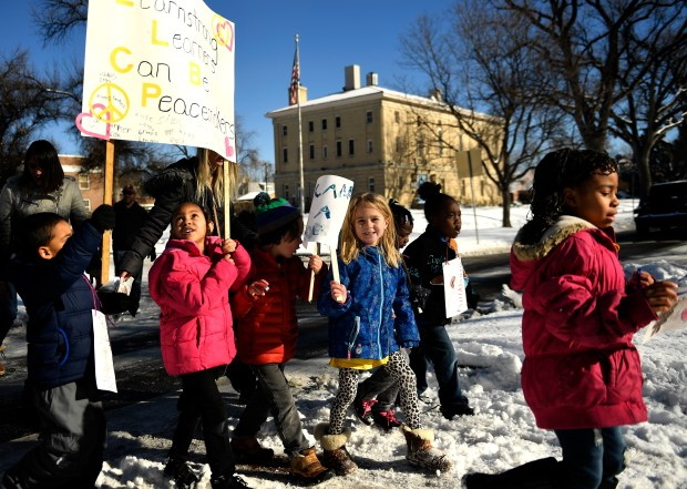 Kindergarten students march together  to Montview Boulevard Presbyterian Church, Jan. 17, 2017 Denver.