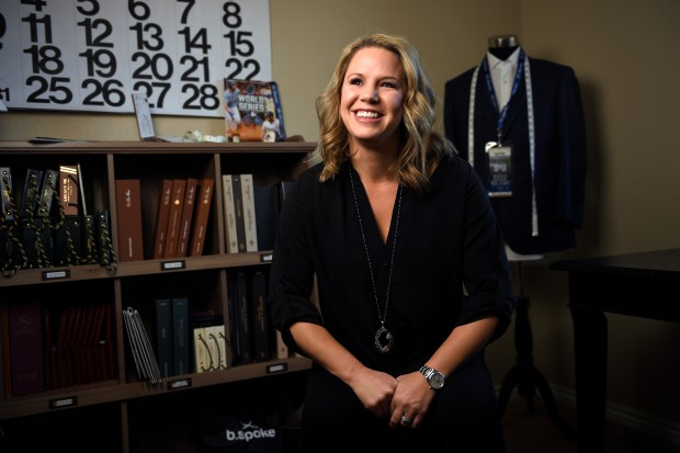 Paige Hutt is a Master Clothier and stylist with b.spoke. She was photographed Jan. 18, 2017 in Windsor, Colorado.