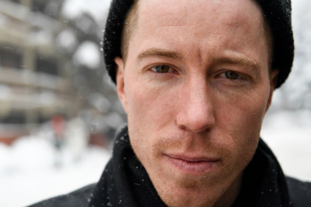 Snowboarder Shaun White poses for a portrait in downtown Aspen