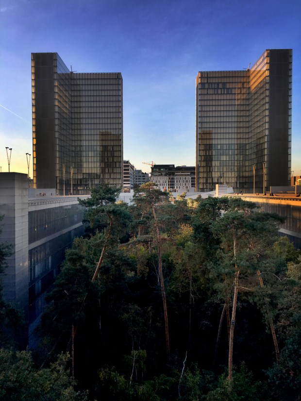 Built in the 1990s, the Bibliothèque nationale de France (BNF, the National Library) was designed to resemble four open books surrounding a garden with the same dimensions as the Palais Royal.