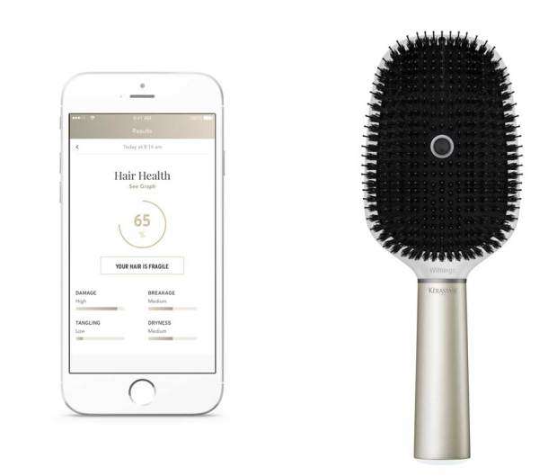 The Withings Hair Coach is a smart hairbrush to help users prevent damage to hair. Inside, there is an accelerometer, gyroscope and microphone -- the latter which listens for breakage.