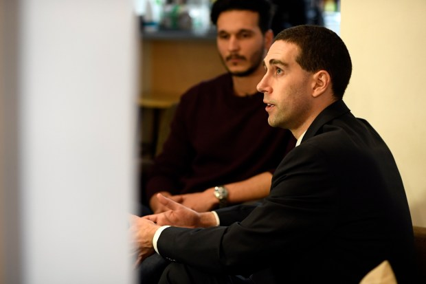 Alan Kennedy-Shaffer discusses the lawsuit with Zakaria Hagig at his apartment Jan. 31, 2017. Hagig is from Libya, studying business at the Community College of Denver filed a federal lawsuit challenging the legality of President Trump's executive order banning immigrants from seven majority-Muslim nations from entering the U.S.