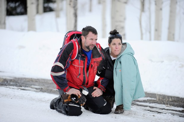 Franktown resident Sean Searle is reunited with his wife Stacy after Searle was rescued from an avalanche in the Flat Tops Wilderness on Feb. 14, 2017.