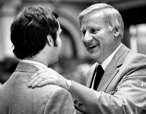In this 1974 file photo, Colorado House Speaker John Fuhr, right, speaks to Rep. Gerard Frank. Fuhr died recently at 88.