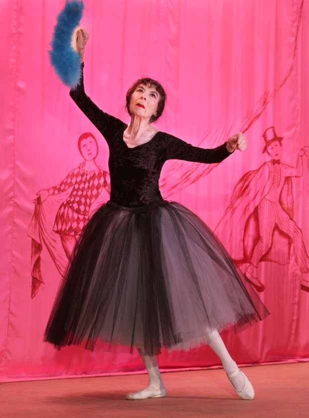 "In this Oct 1, 2005 file photo, Marta Becket dances ""en pointe"" during the inaugural performance of ""Masquerade"" at the Amargosa Opera House in Death Valley Junction, Calif."