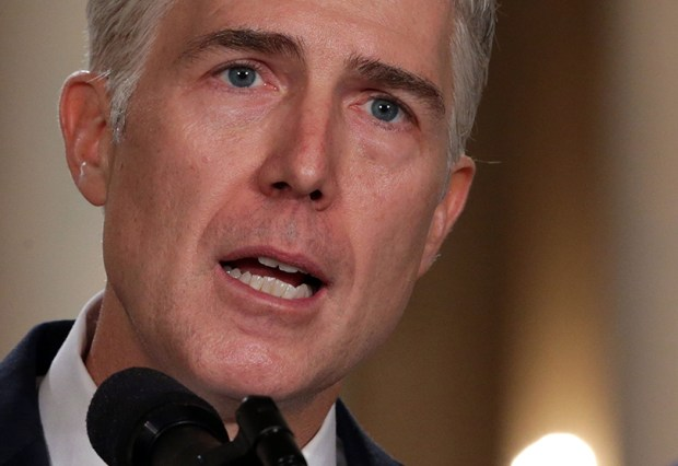 Judge Neil Gorsuch speaks at the White House on Tuesday after President Donald Trump nominated him to the Supreme Court.