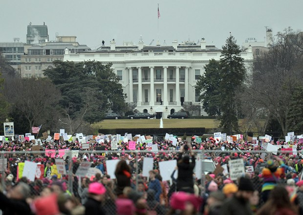 Demonstrators march near the White House during the Women's March on Washington on Jan. 21.