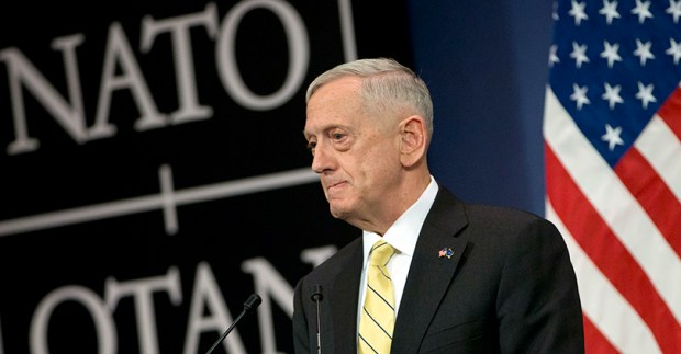 U.S. Secretary of Defense Jim Mattis speaks during a media conference at NATO headquarters in Brussels on Feb. 16.