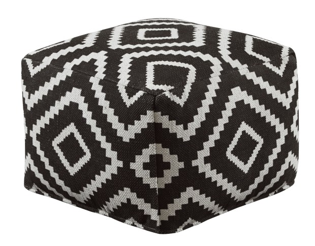 "Joss & Main's Hailey pouf is covered in a bold geometric kilim material. ""An added bonus of these rug materials is that they're tightly woven and durable, and the bright patterns camouflage stains,"" says Joss & Main style director Donna Garlough."