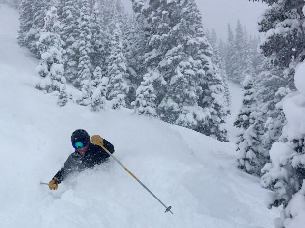 David Paul makes his way through deep snow at Alta in January.
