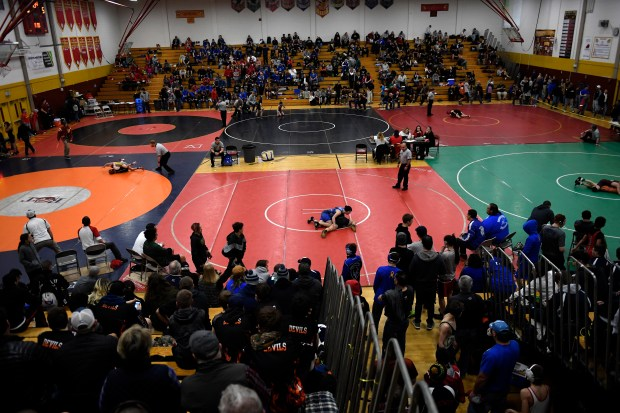 The opening rounds of the first CHSAA Girls State Wrestling Tournament at Northglenn High School February 04, 2017 Northglenn, CO.