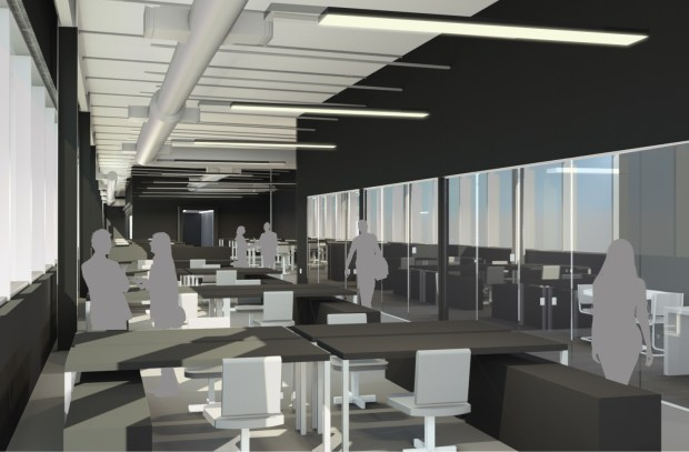 Rendering is of York Space System's new engineering and design area at MSU Denver