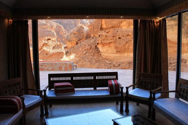 A room overlooks sandstone cliffs at Shaden, a new luxury 5-star desert camp in Al Ula, Saudi Arabia, on Feb. 1, 2017.
