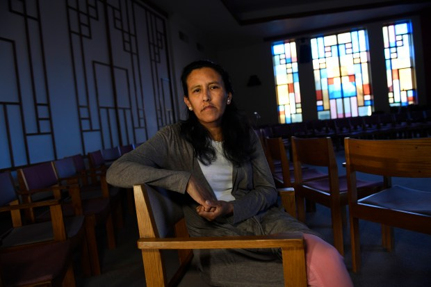Jeanette Vizguerra is pictured in the sanctuary of the First Unitarian Church on Feb. 16, 2017 in Denver, Colorado.