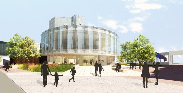 Proposed architectural rendering of the Anna and John J. Sie Welcome Center.