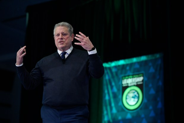 Al Gore speaks to an audience of almost 1,000 people during his Climate Reality Leadership Corps training at the Colorado Convention Center March 2, 2017 in Denver.
