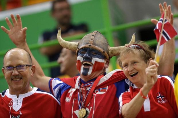 Norwegian fans wait for the beginning of the women's semifinal handball match