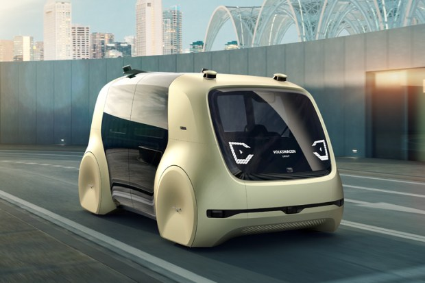 The Volkswagen Sedric, a twist on the words self-driving car, was unveiled in March 2017. The passenger only autonomous vehicle has no steering wheel, gas pedal or brakes on the interior.