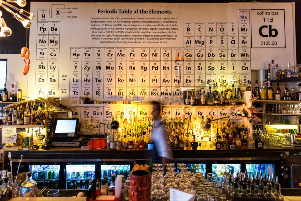 Collins Bar features a Periodic Table of Elements highlighting Birmingham people, places and historic moments.