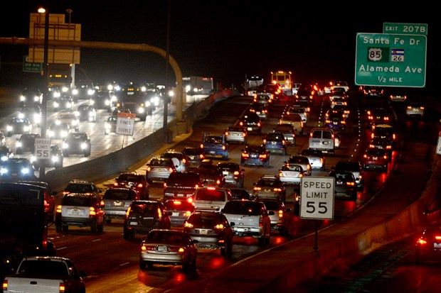 Interstate 25 is packed near Alameda Avenue on Dec. 14, 2015.